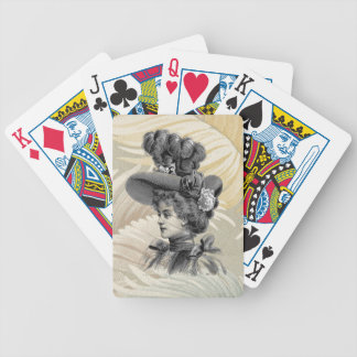 Victorian Feathers Peach Gray Woman Hat Poker Deck