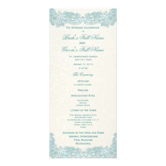 Victorian Floral Aqua Lace Wedding Program