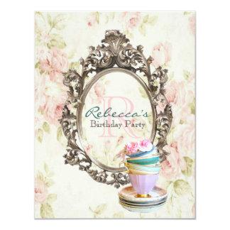 victorian floral cupcake english tea party card