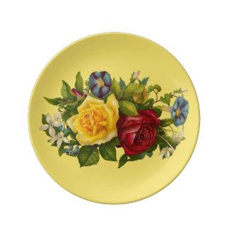 Victorian Floral Porcelain Plate