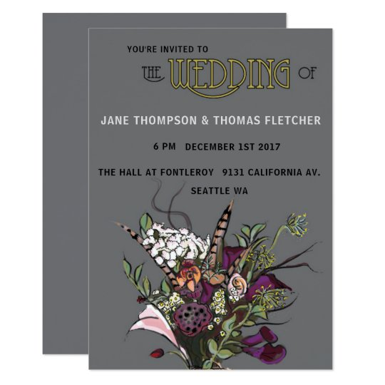 Victorian Flowers Invitation Grey