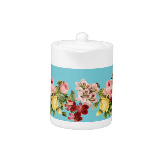 Victorian Flowers Porcelain Teapot