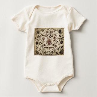 victorian flowers texture baby bodysuit