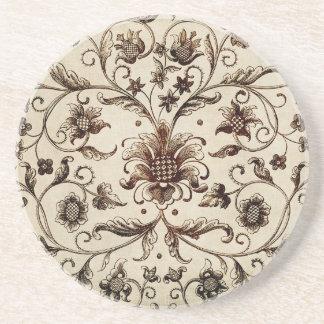 victorian flowers texture coaster