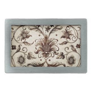 victorian flowers texture rectangular belt buckles