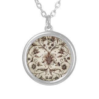 victorian flowers texture silver plated necklace