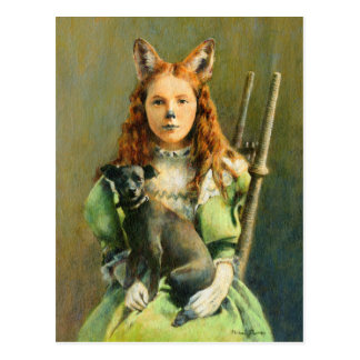 Victorian Fox Girl Postcard
