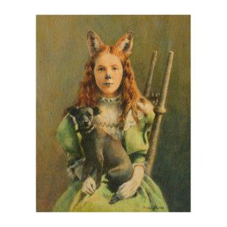 Victorian Fox Girl Wooden canvas Wood Wall Art