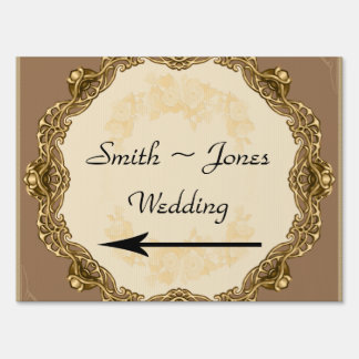 Victorian Frame in Gold Wedding Direction Sign