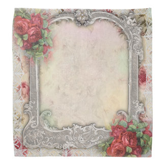 Victorian Frame w Red Roses silver ivory lace Bandannas