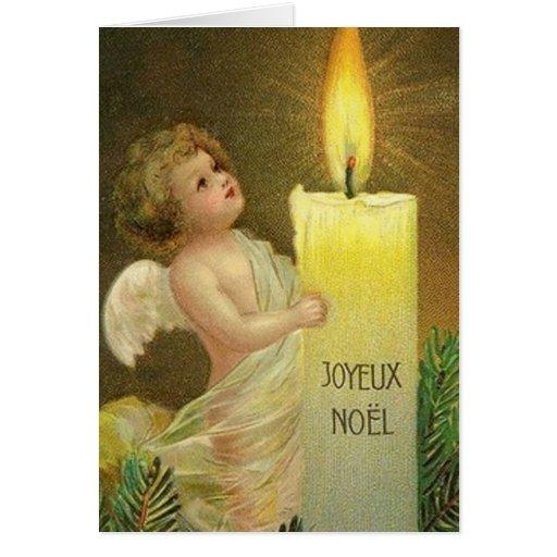 Victorian French Angel Joyeux Noel Christmas Card