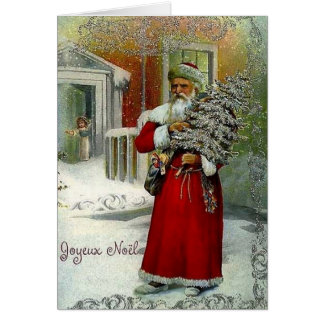 Victorian French Joyeux Noel Christmas Card