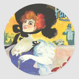Victorian French woman cabaret advertisement Paris Round Sticker