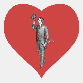 Victorian Gentleman Selfie Heart Sticker