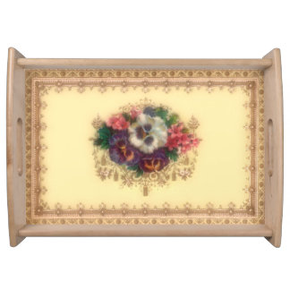 "Victorian ""Gilded Pansies"" Serving Tray"