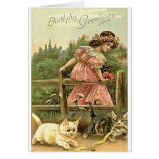 Victorian Girl And Kittens Birthday Card