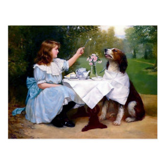Victorian Girl and Pet Dog Table Manners painting Postcard