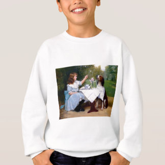 Victorian Girl and Pet Dog Table Manners painting Sweatshirt