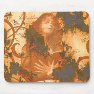 Victorian Girl Book rust grunge old inspirational Mouse Pad