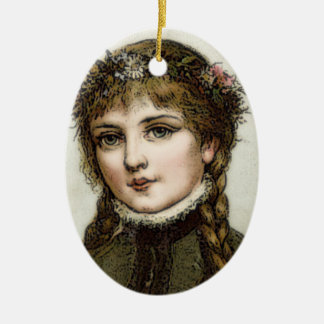 Victorian Girl Christmas Tree Ornament Oval