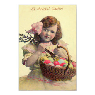 Victorian Girl Easter Basket Painted Egg Photograph