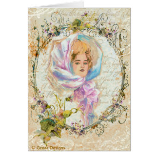 VICTORIAN GIRL HARRISON FISHER STYLE PRINT cropped Greeting Cards