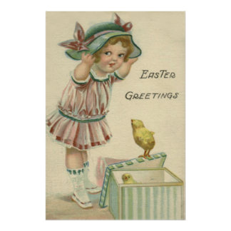 Victorian Girl Present Easter Chick Poster