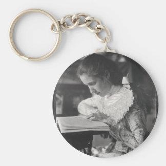 Victorian girl reading a book basic round button keychain