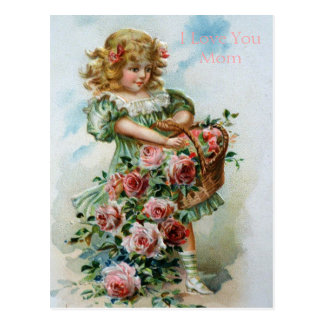 Victorian Girl Roses English Love Mom Gardens Postcard