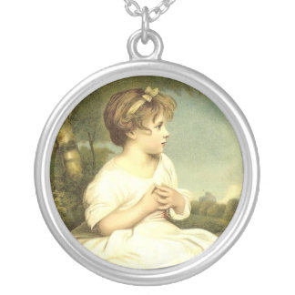 Victorian Girl Round Sterling Silver Necklace