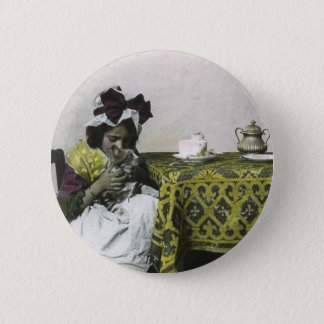 Victorian Girl Tea Time with Kitty Vintage 2 Inch Round Button