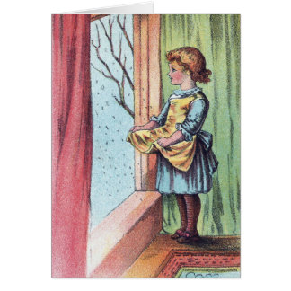 Victorian Girl Watching Snowfall Card