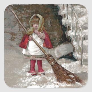 Victorian Girl with Broom and Cape in the Snow Square Sticker