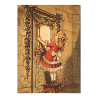 Victorian Girl with Christmas Garland Invitation