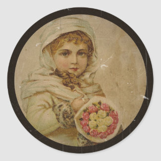Victorian Girl with Christmas Roses Classic Round Sticker