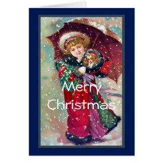 Victorian Girl with Puppy Christmas Greeting Card