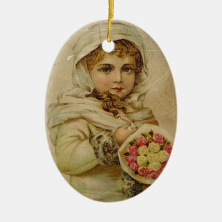 Victorian Girl with Roses Ceramic Ornament