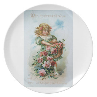 Victorian Girl With Roses Plate