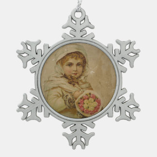 Victorian Girl with Roses Snowflake Pewter Christmas Ornament