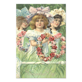 Victorian Girl Wreath Rose Memorial Day Art Photo