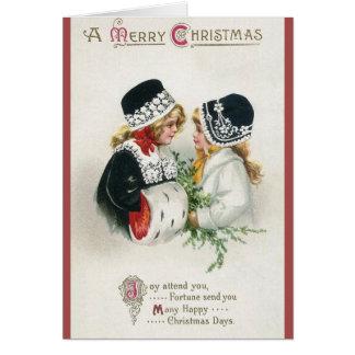 Victorian Girls Christmas Greeting Card
