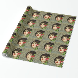 Victorian Glamour Girl w/ Red Rose Wrapping Paper