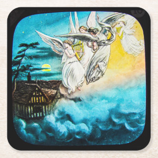 VICTORIAN Glass Magic Lantern Slide THE MAY QUEEN Square Paper Coaster