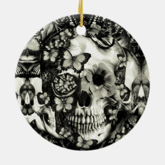 Victorian gothic lace skull ceramic ornament