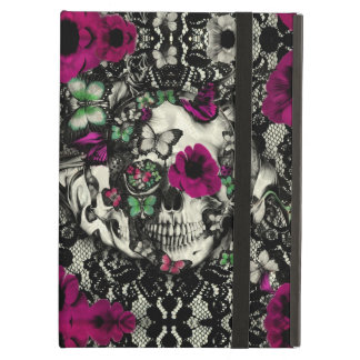 Victorian gothic lace skull with pink accents cover for iPad air
