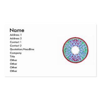 Victorian graphic circle red and blue business card templates