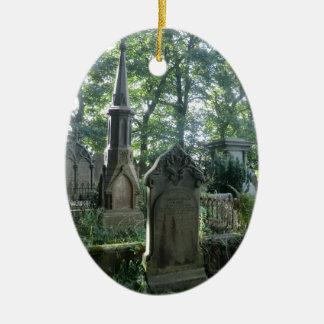 Victorian Gravestones at the Bronte Parsonage Ceramic Oval Ornament