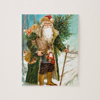 Victorian Green Velvet Christmas Santa Claus Jigsaw Puzzle