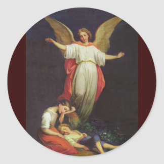Victorian Guardian Angel Classic Round Sticker