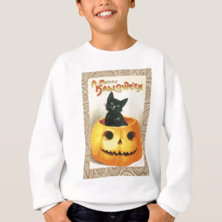 Victorian Halloween Pumpkin Black Cat Sweatshirt